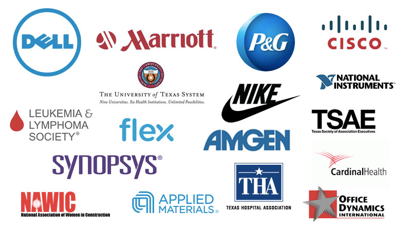 List of companies and associations where Courtney Clark has delivered a presentation on resilience, change, and stress